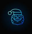 santa claus head blue line icon or logo element vector image
