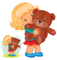 small girl playing with teddy bear vector image