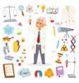 science man professor lab icons vector image vector image