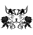 muzzle of a cat with roses - tattoo vector image vector image