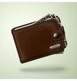 Classic brown leather wallet with banknotes vector image