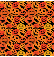 Halloween seamless pattern with pumpkins faces vector image vector image