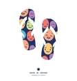 funny faces flip flops silhouettes pattern frame vector image