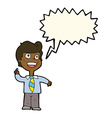 cartoon school boy raising hand with speech bubble vector image