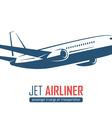 airliner emblem on white background vector image