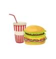 Burger Combo Street Food Menu Item Realistic vector image