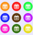 calendar page icon sign A set of nine different vector image