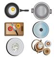 Kitchen equipment top view set 10 vector image