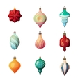new year 2017 fir-tree glass different bauble vector image