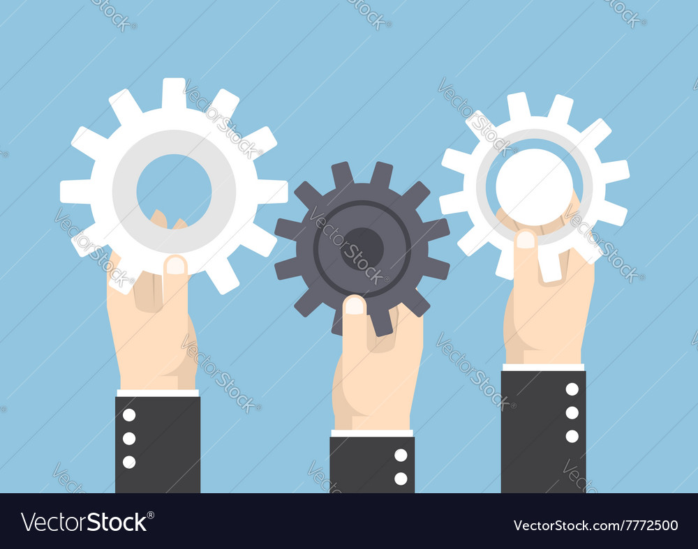 Hands holding gear or cog wheel teamwork vector