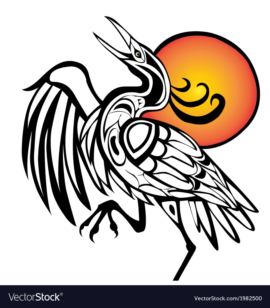 Tribal bird with sunset on white bac vector