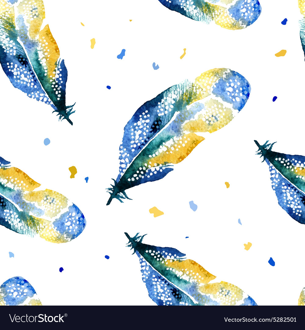 Watercolor seamless pattern with feathers vector