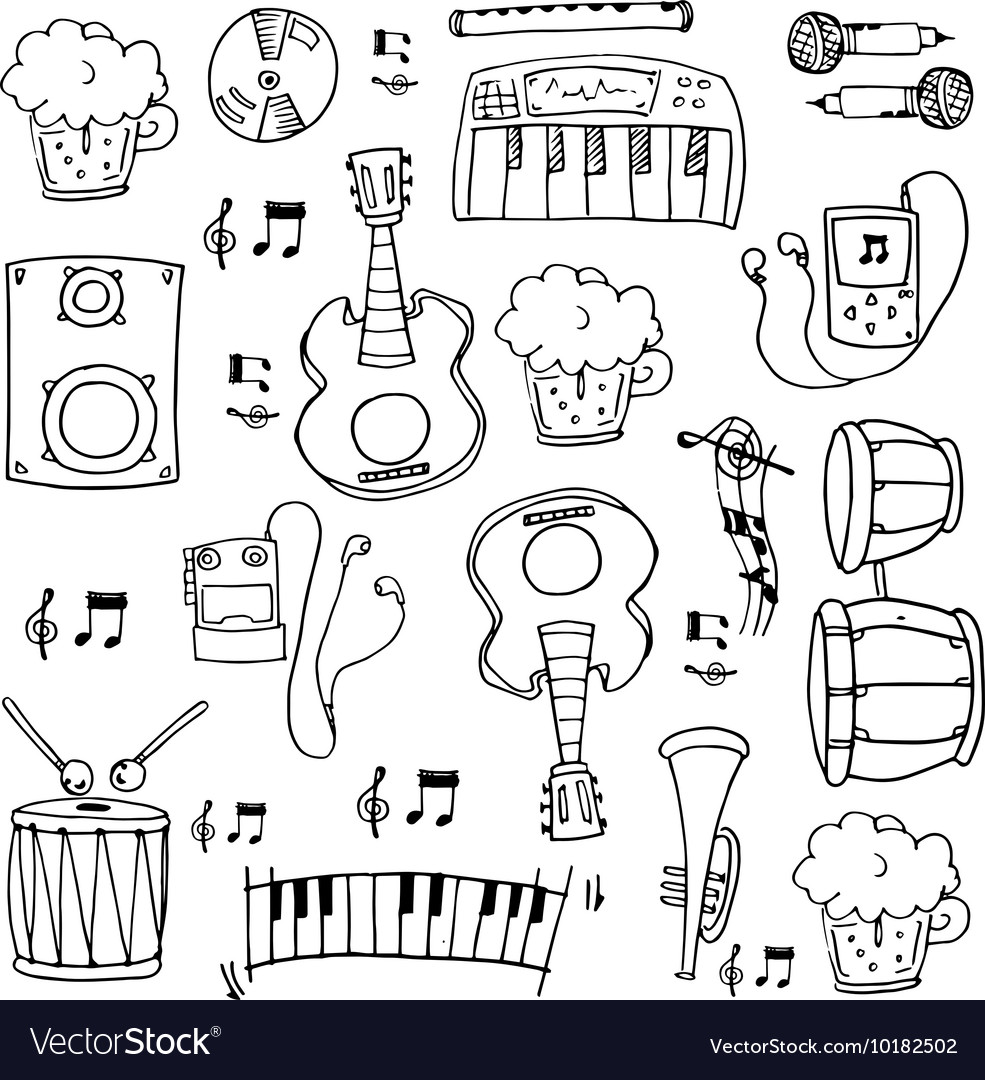 Doodle of music theme hand draw vector