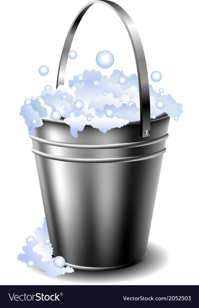 Metal bucket with foam vector