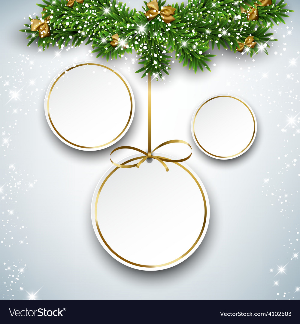 Paper round holiday labels vector