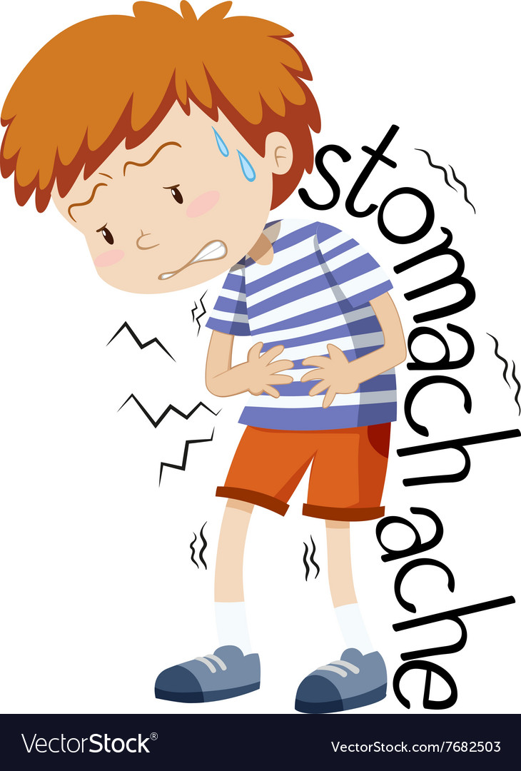 Sick boy having stomachache vector