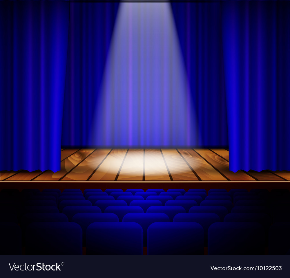 Ter stage with red curtain vector