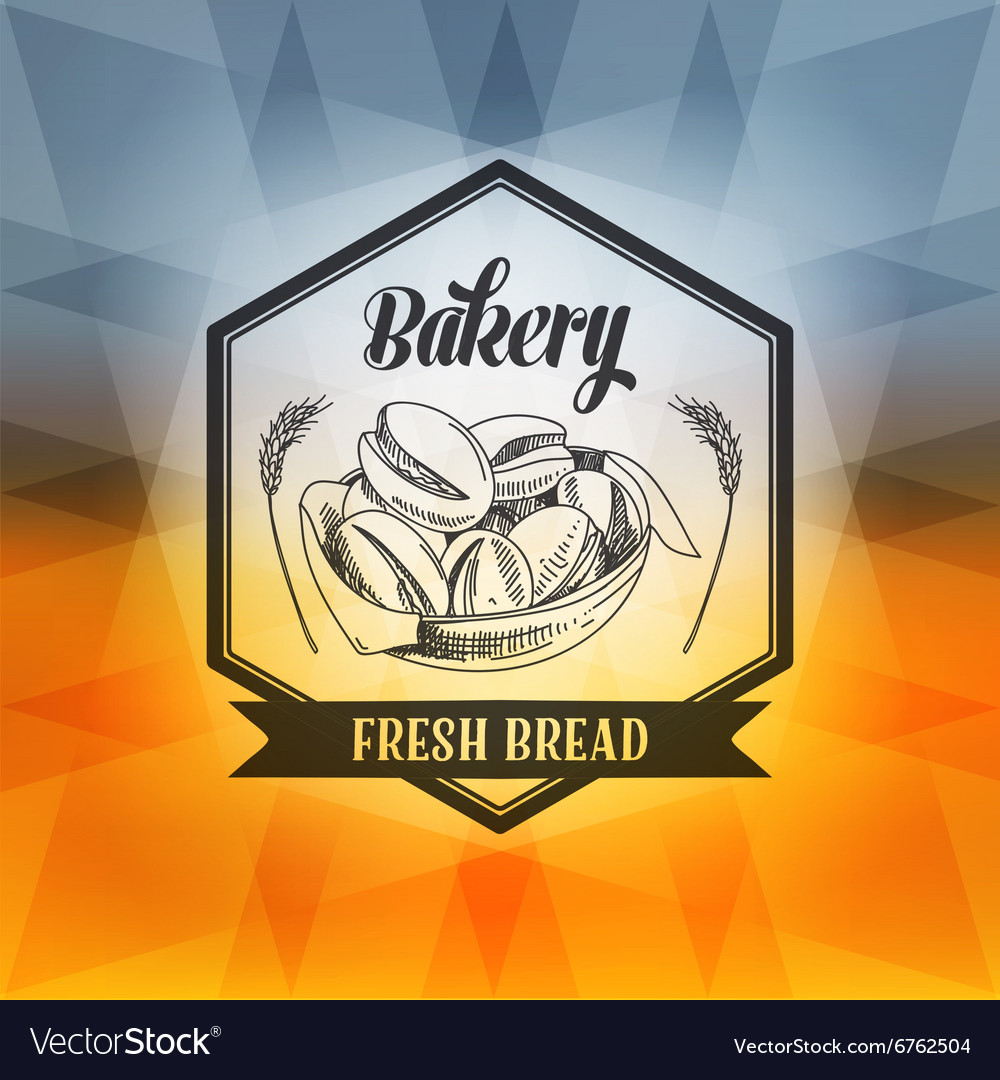 Hand drawn with bread label vector