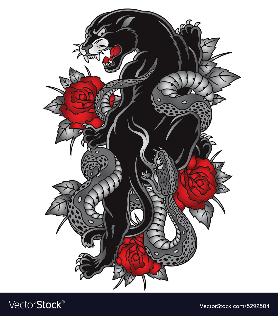 Panther with snake tattoo graphic vector
