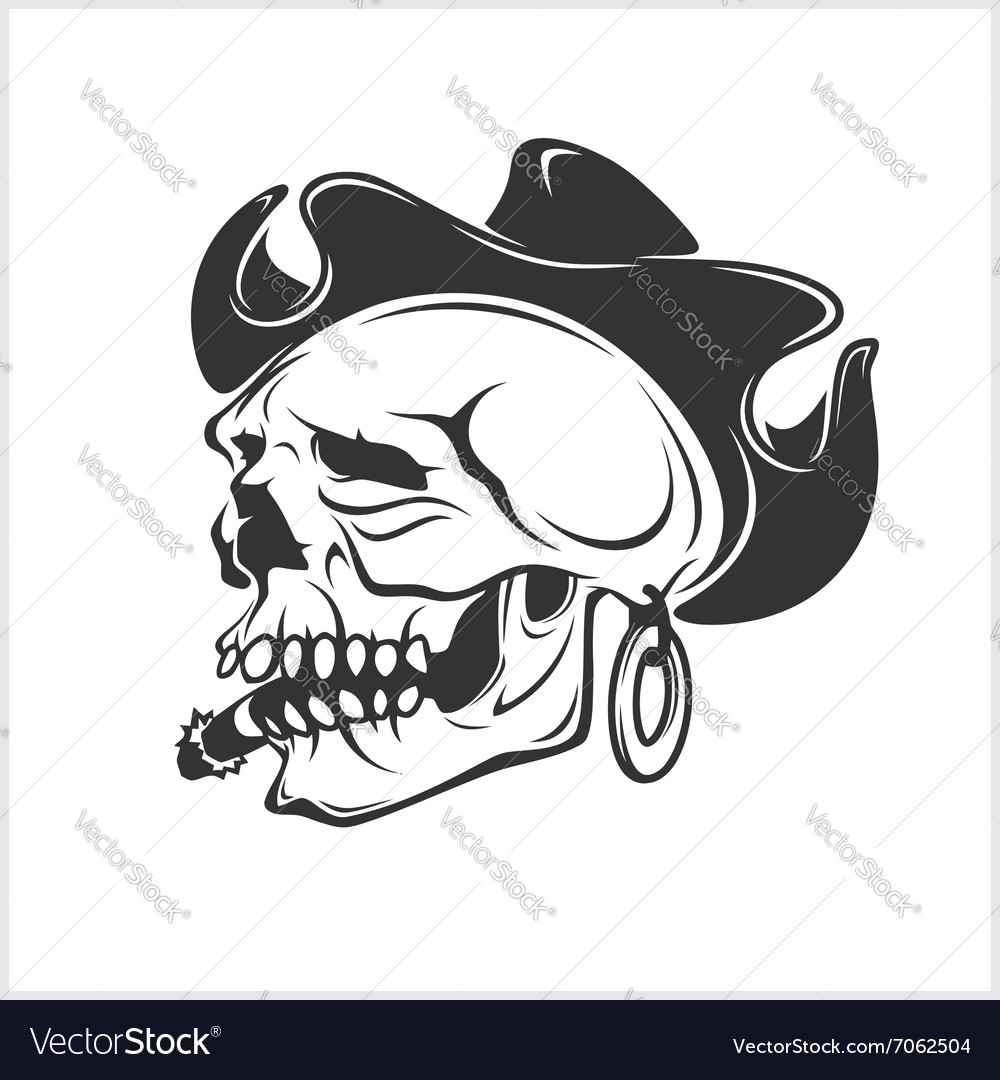 Skull in cowboy hat  gangster vector