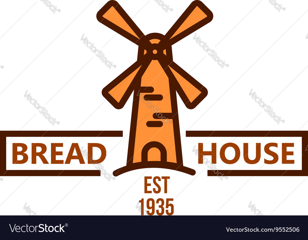 Bakery and pastry shop badge with vintage windmill vector