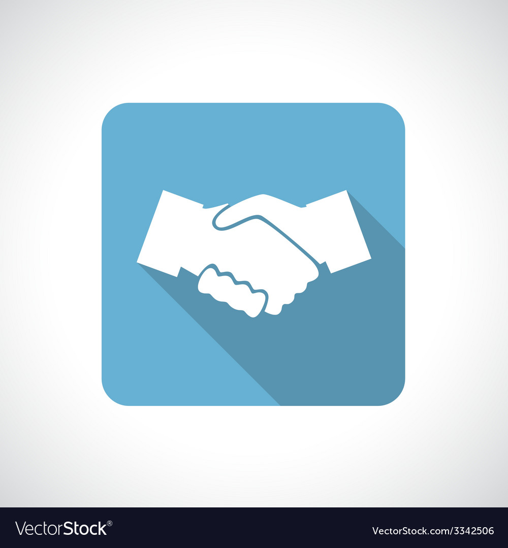 Hands shake icon with shadow vector