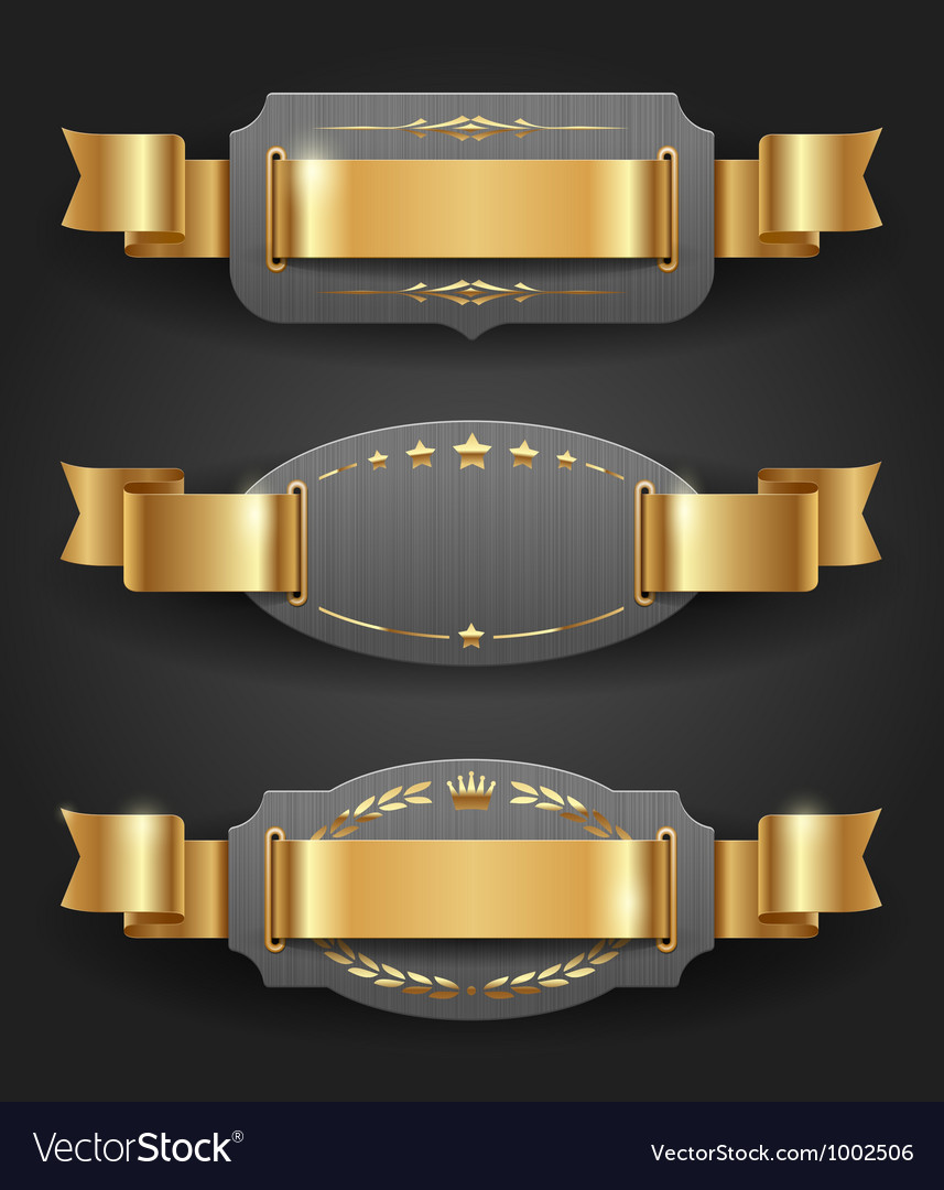 Ornate metal frames with golden decor and ribbons vector