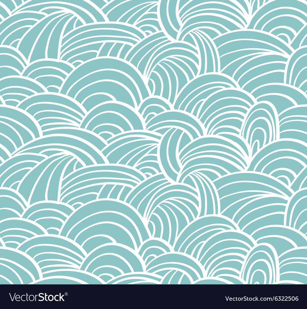 Seamless sea handdrawn pattern waves background vector