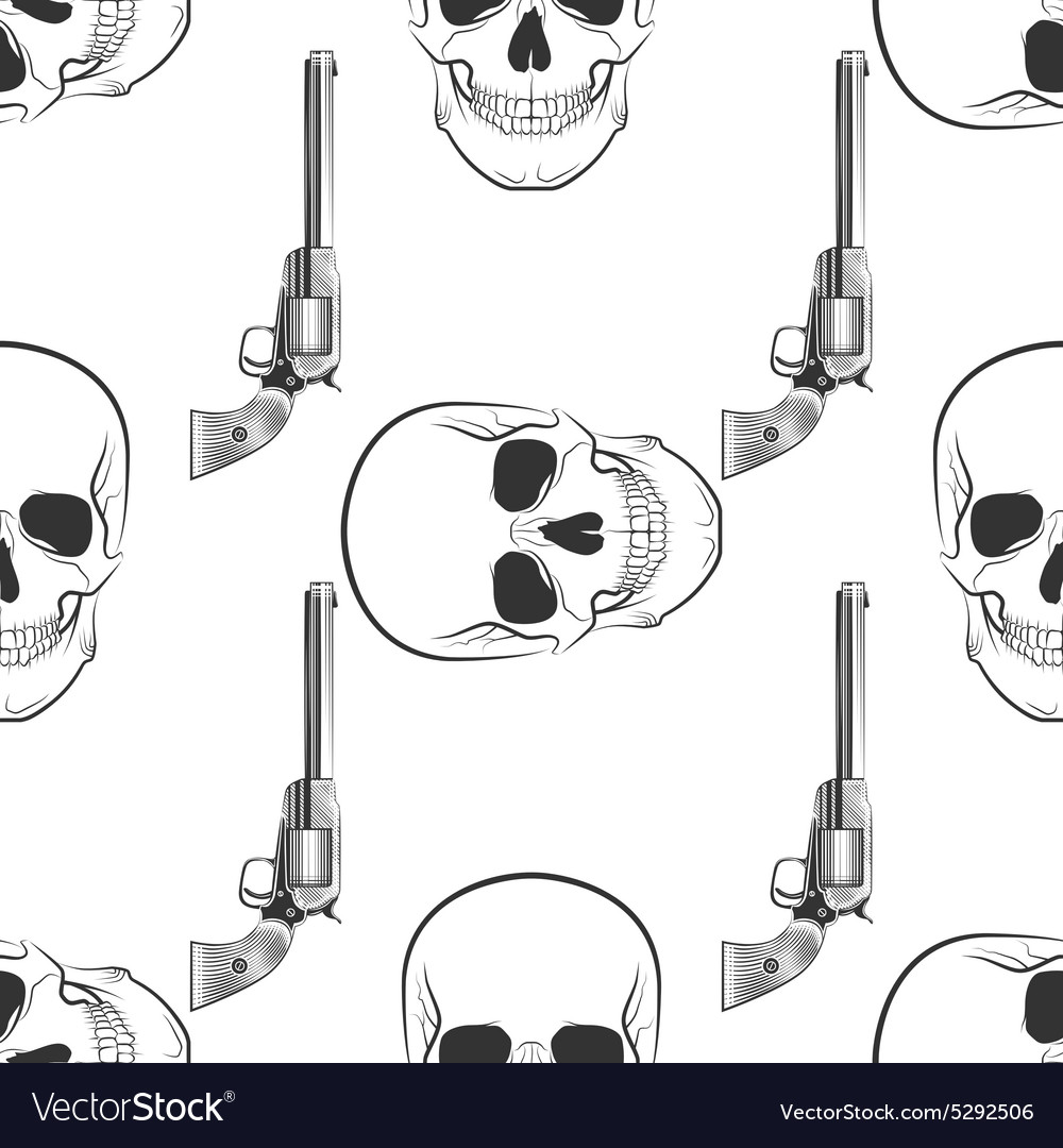 Skull and revolver pattern vector