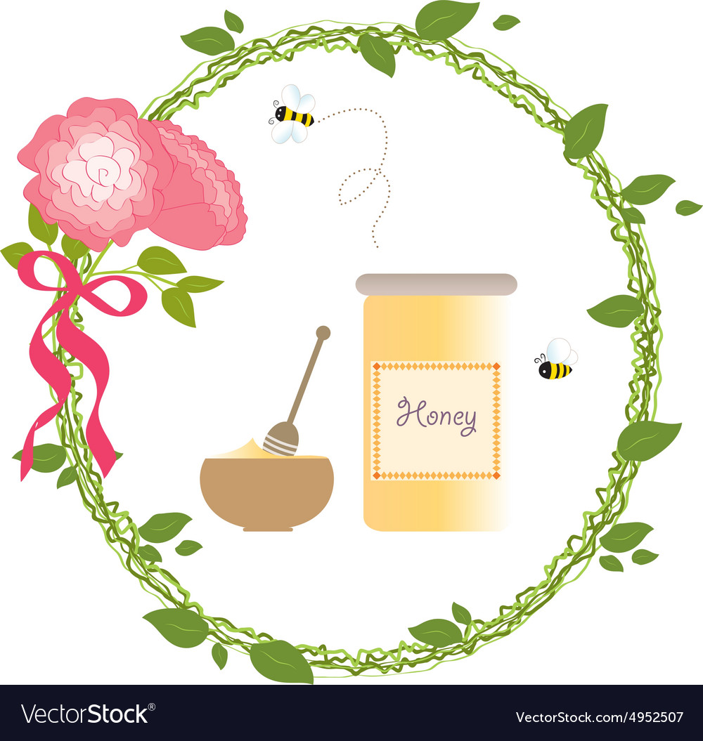 Romantic wreath rose flower bio honey bee gold vector