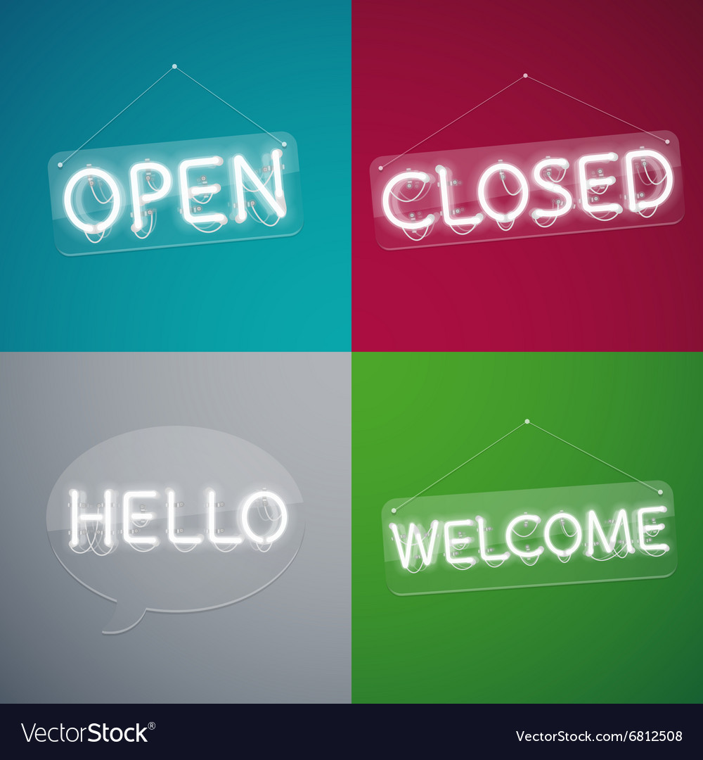 Four neon signs vector