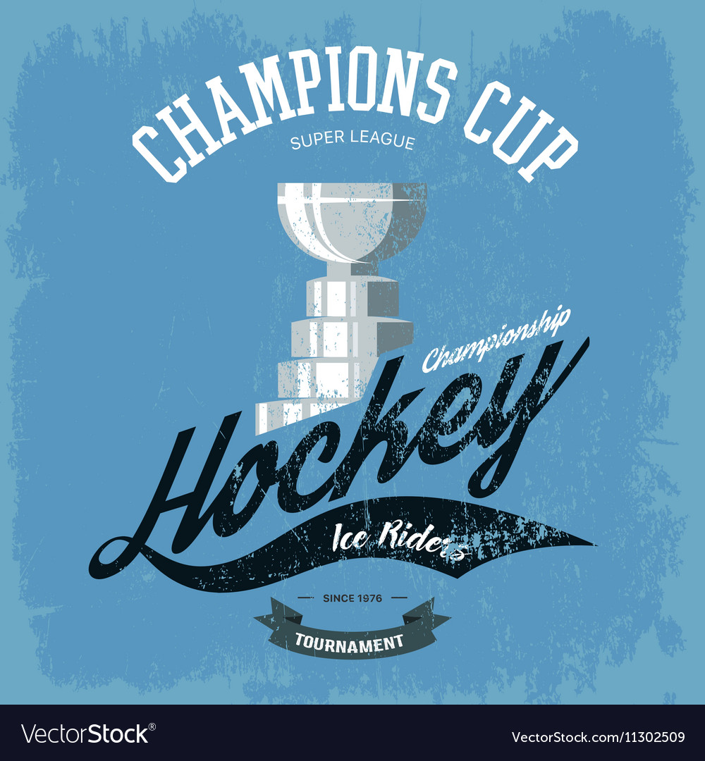 Hockey trophy or cup for tshirt print vector