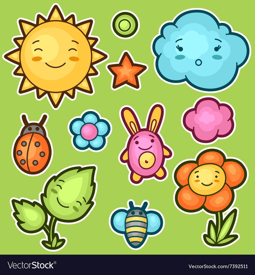 Set of kawaii doodles with different facial vector