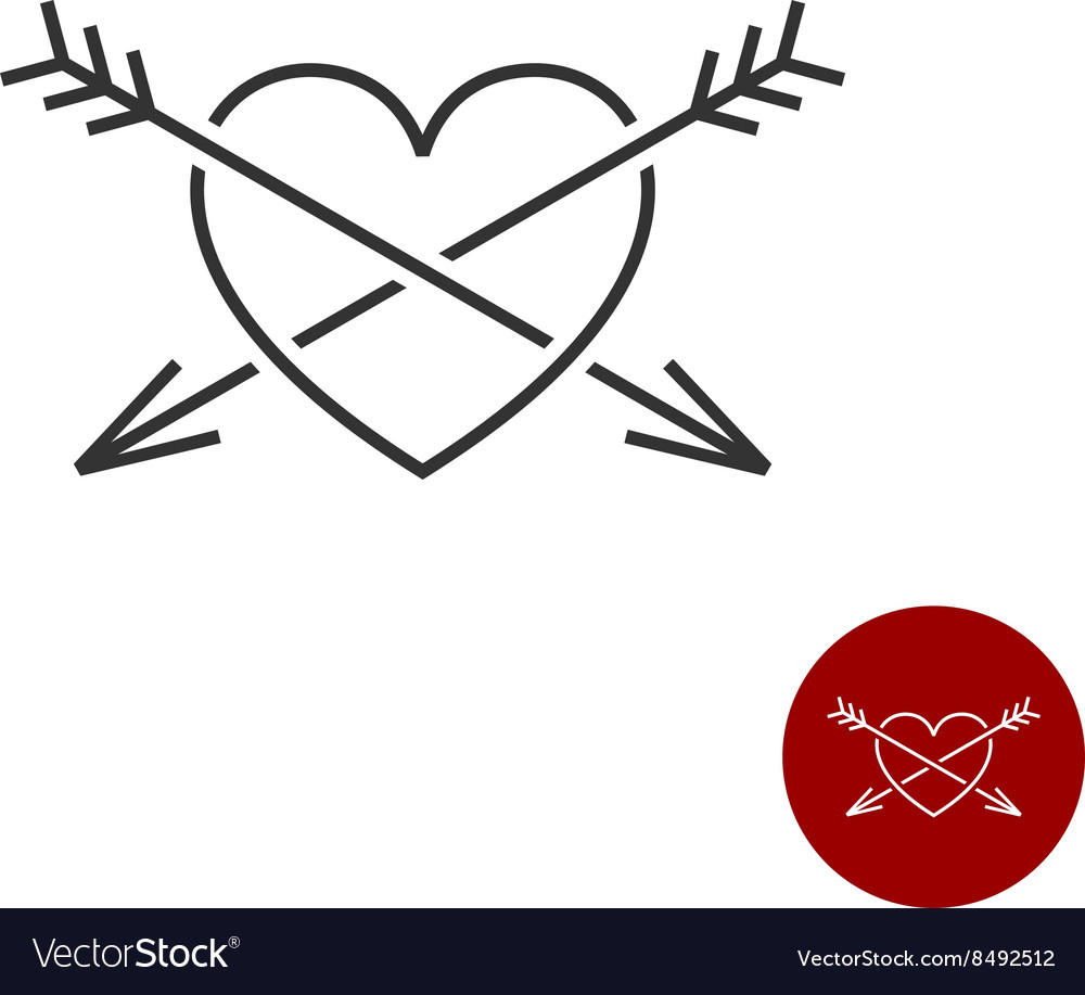 Heart with two arrows black outline style logo vector