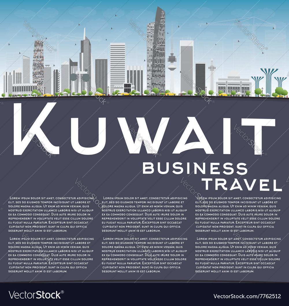 Kuwait city skyline with gray buildings vector