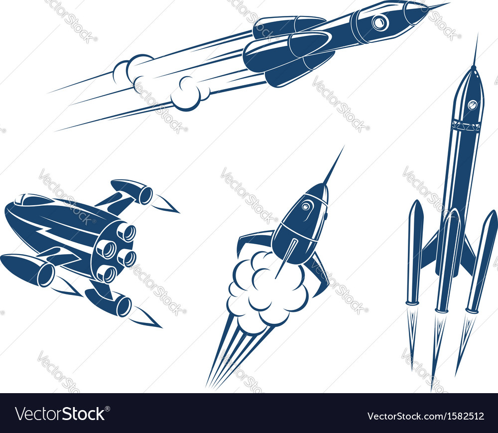 Spaceships and rockets vector