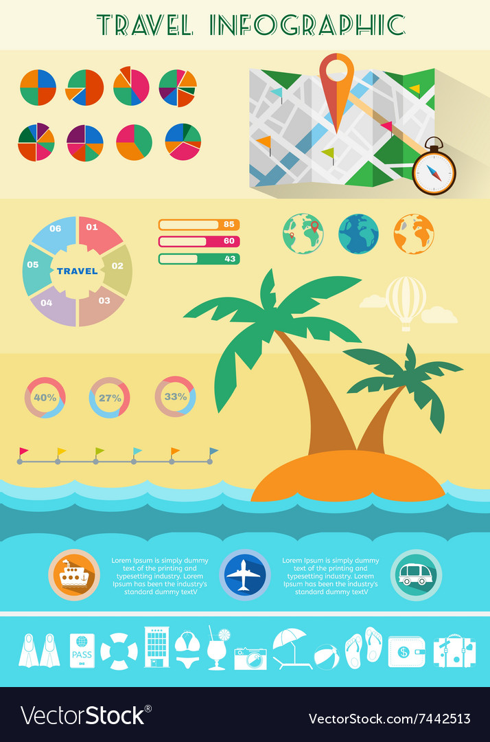 Colorful travel infographics vector