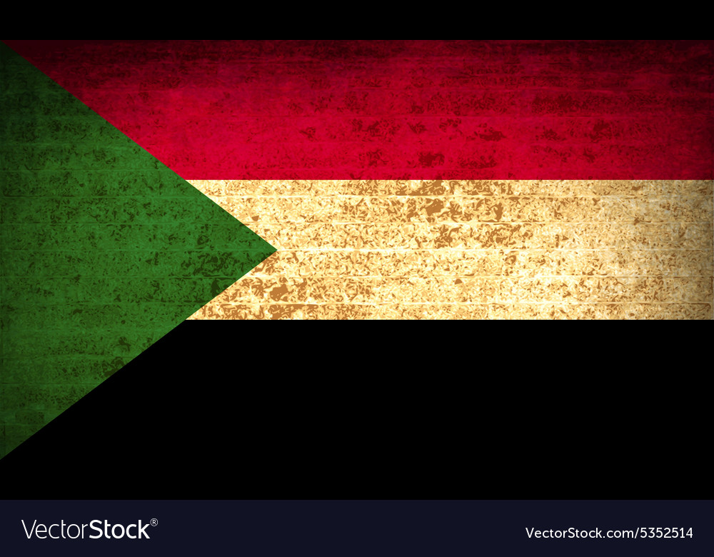 Flags sudan with dirty paper texture vector