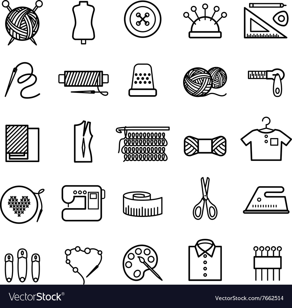 Knitting sewing and needlework icons vector