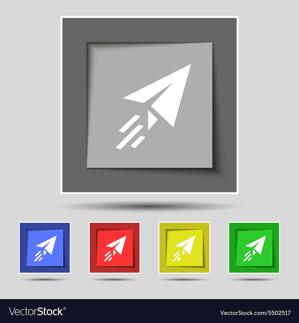 Paper airplane icon sign on original five colored vector