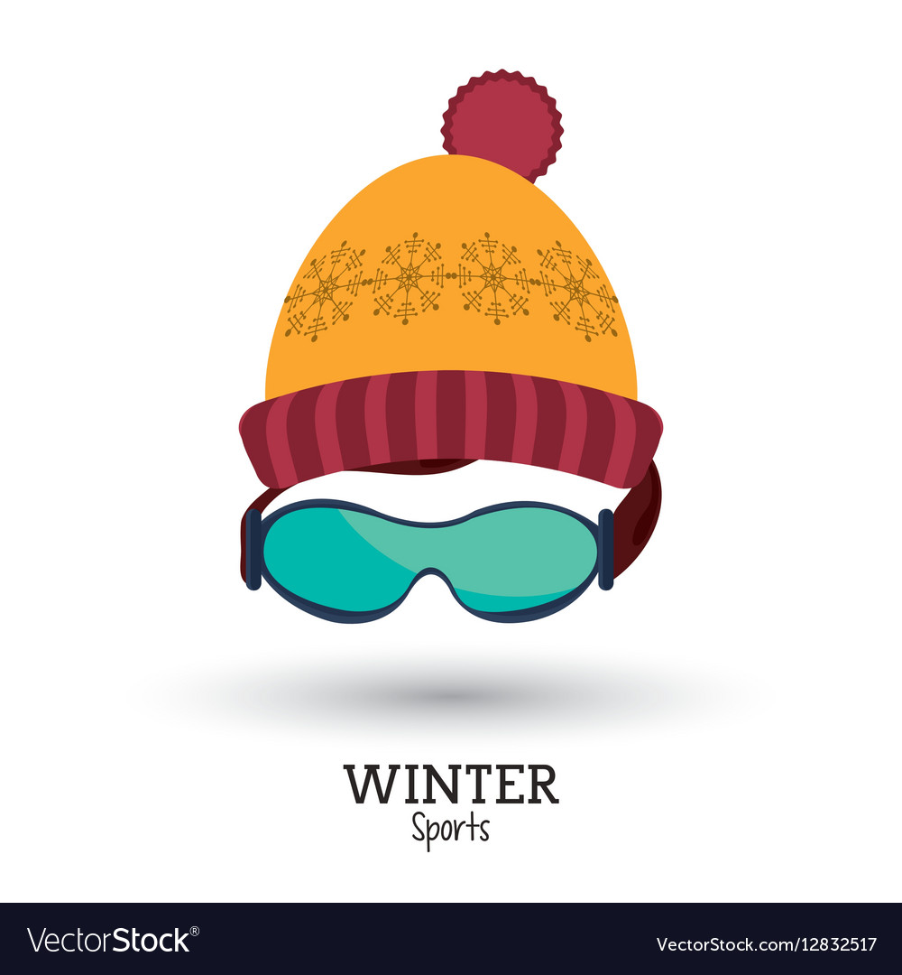 Red and yellow knitted cap glasses winter sport vector