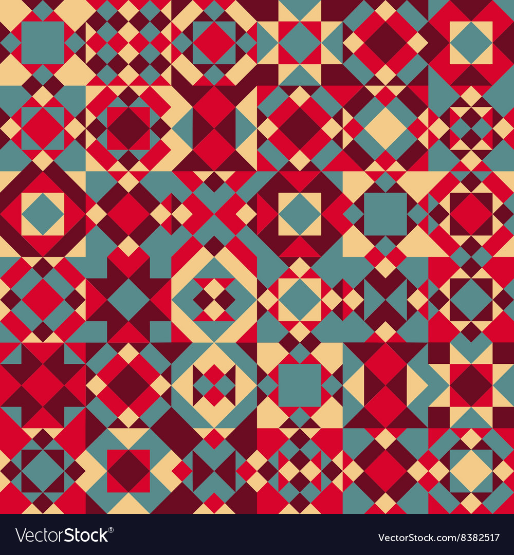 Seamless geometric blocks quilt pattern vector
