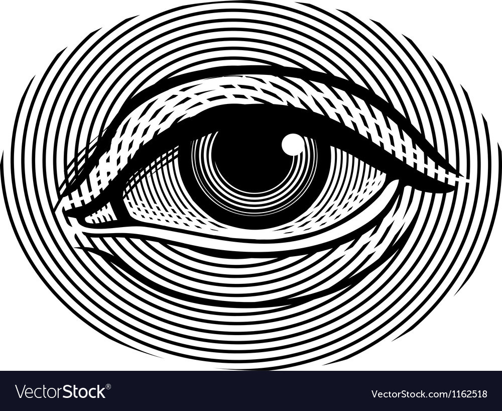 Human eye in vintage engraved style vector