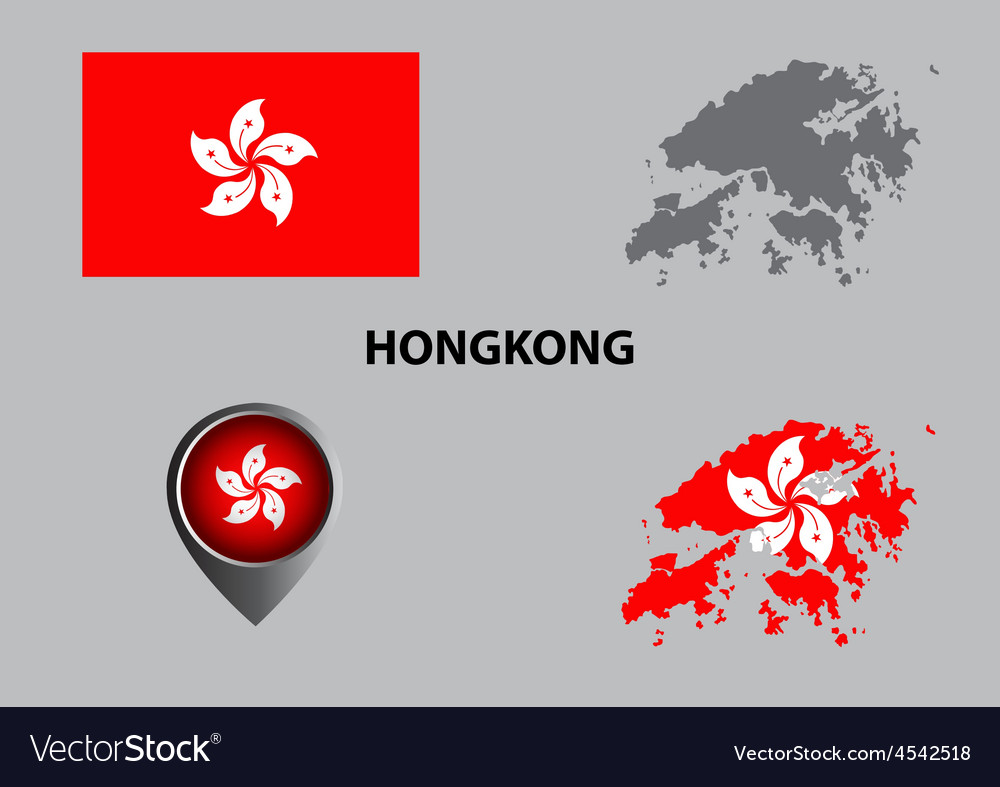 Map of hongkong and symbol vector