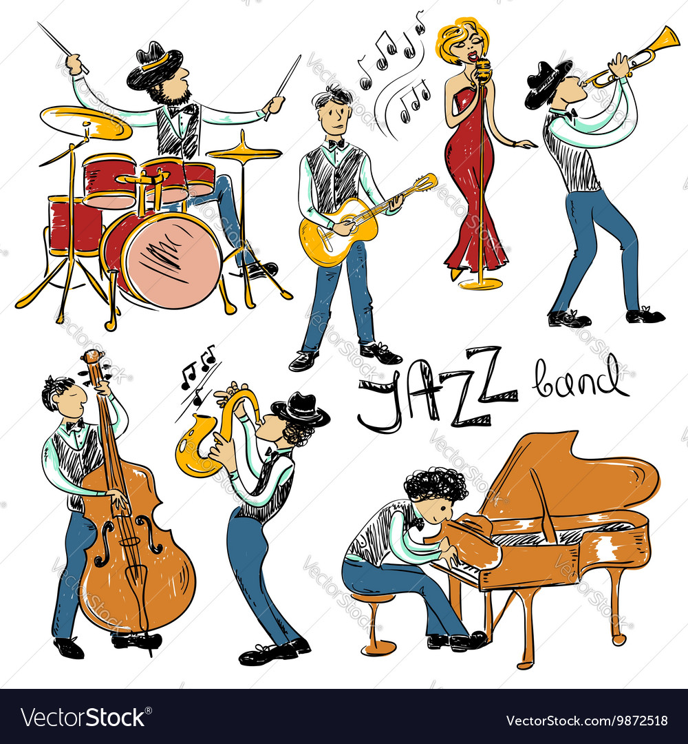 Set of isolated colorful jazz musicians vector