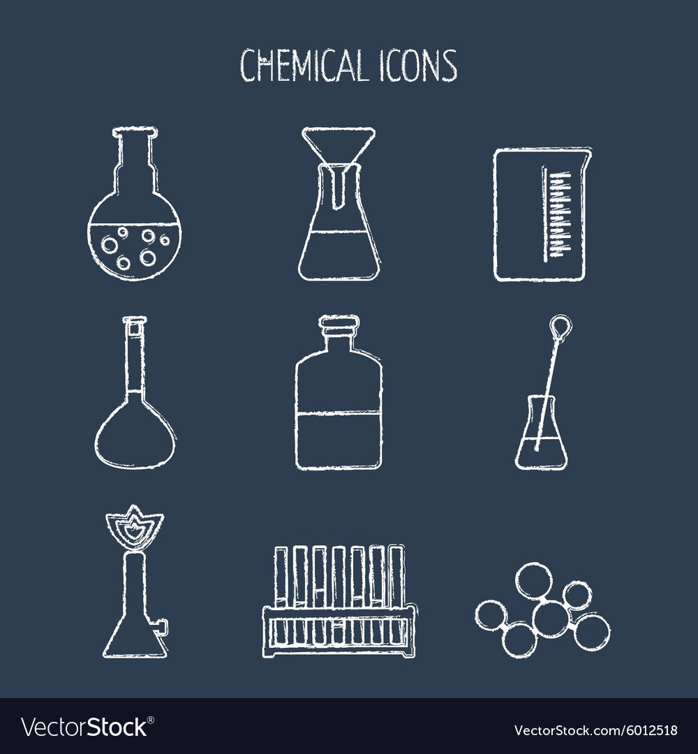 Set of linear chemical icons painted with chalk vector