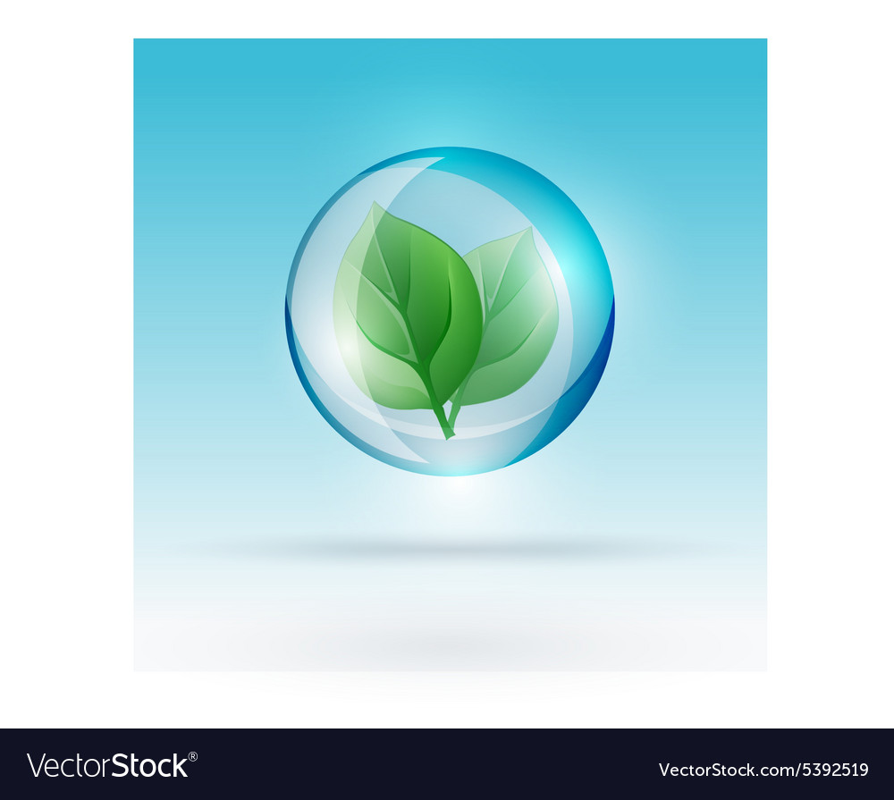 Bubble with leaf vector