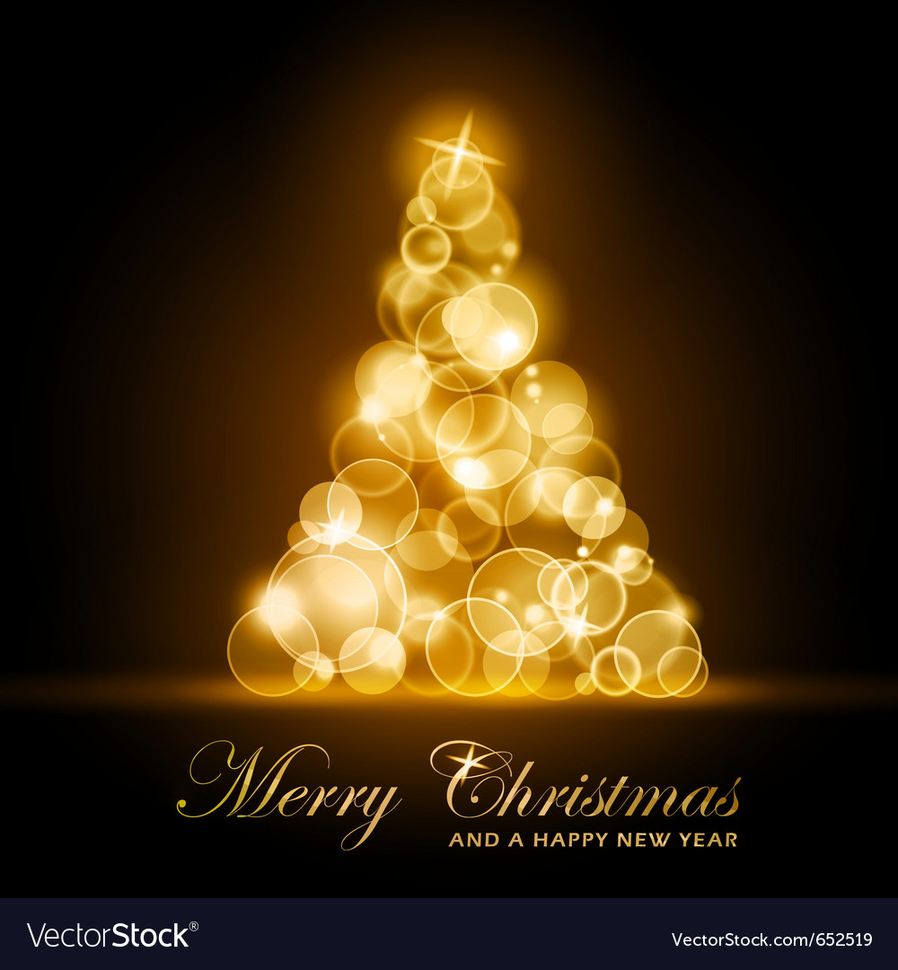 Golden glowing christmas tree vector