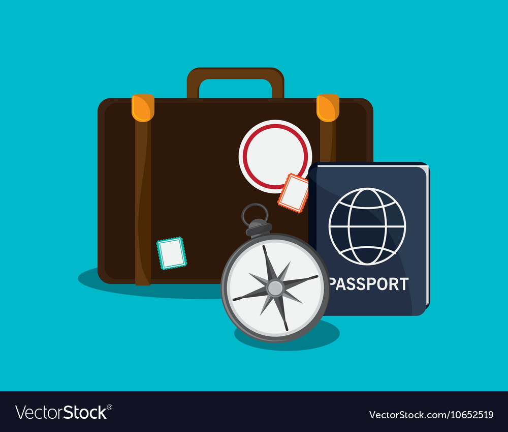 Suitcase and travel related icons vector