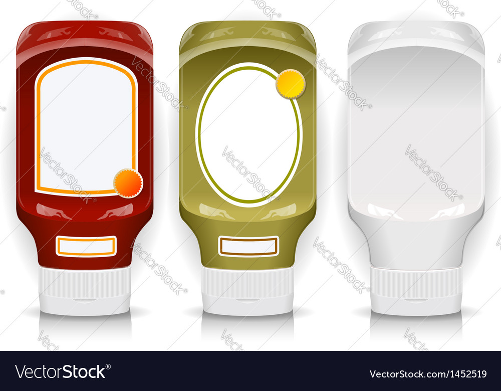 Three generic plastic flacon with labels vector